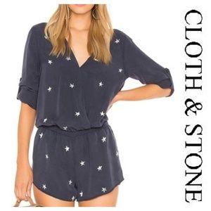 CLOTH STONE Star Print Romper Roll Tab Sleeve Navy